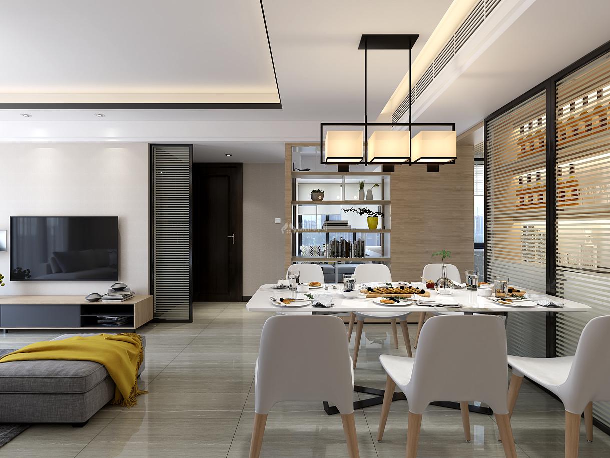 110㎡现代简约三居之餐厅装潢布置效果图
