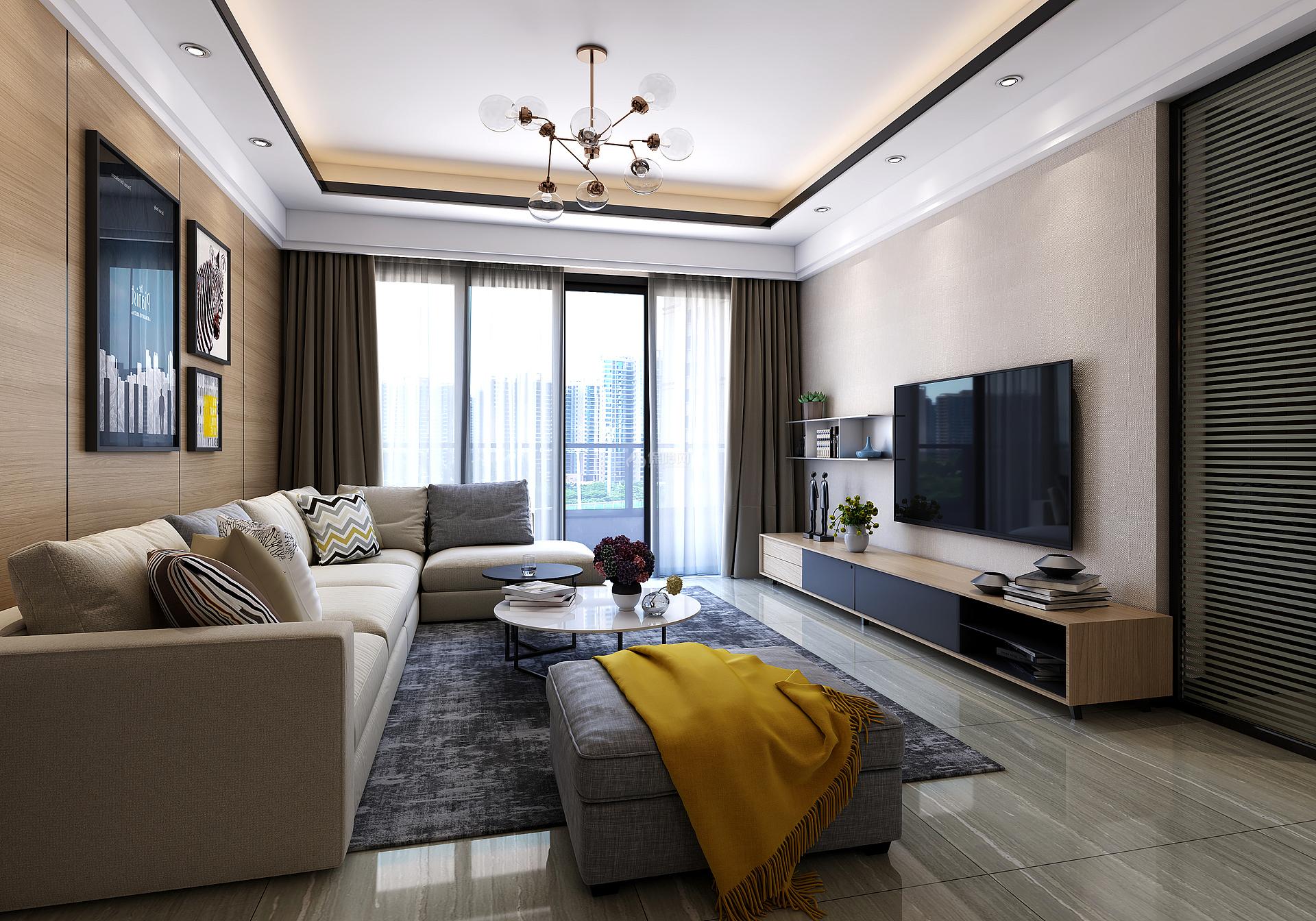 110㎡现代简约三居之客厅装潢布置效果图