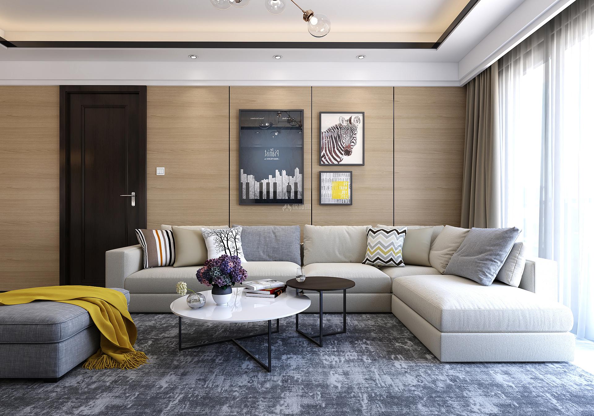 110㎡现代简约三居之沙发摆放效果图