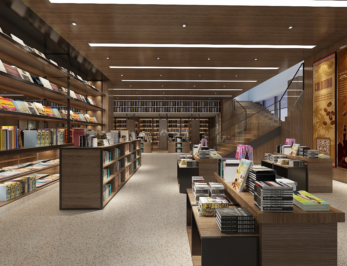 休闲书吧咖啡屋之图书摆放区设计效果图