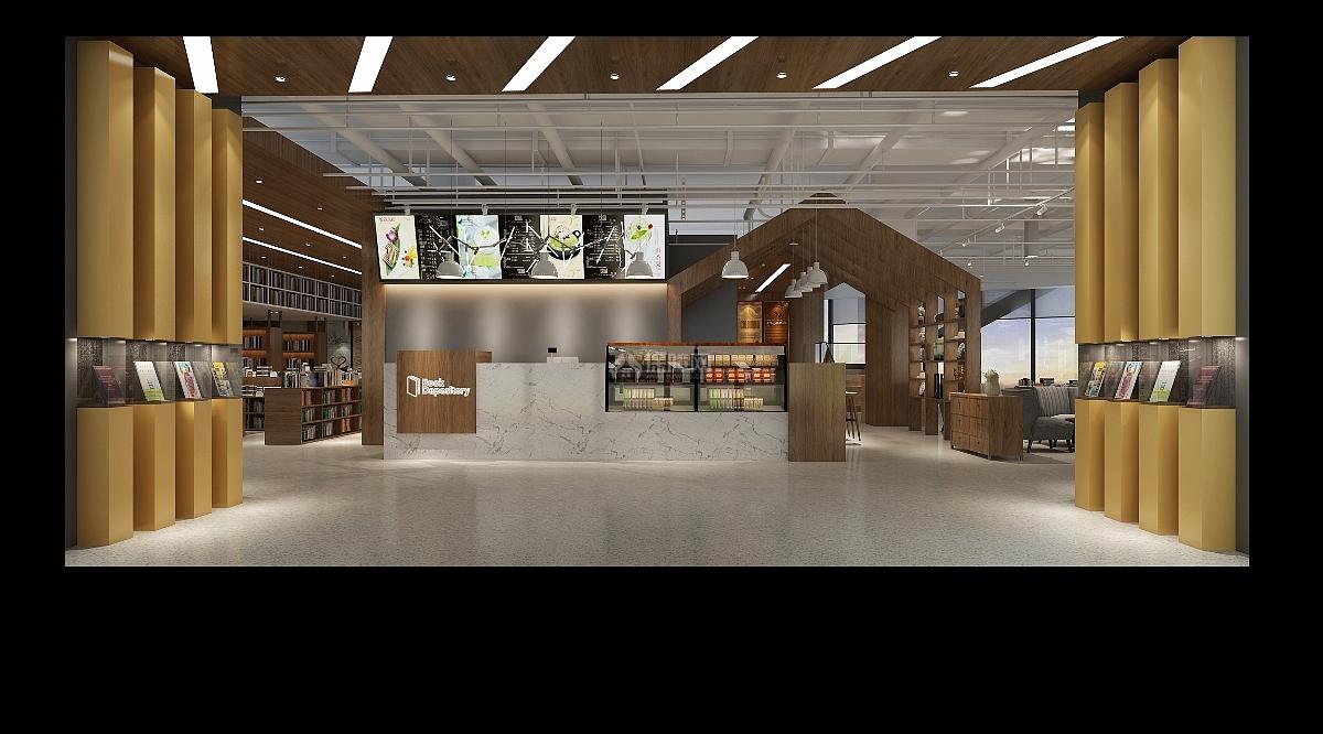休闲书吧咖啡屋工装设计效果图案例图片