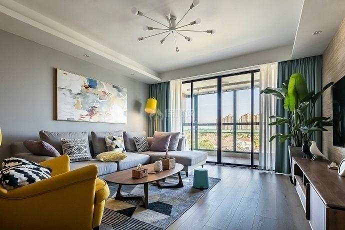 103㎡混搭两居之客厅装潢布置效果图