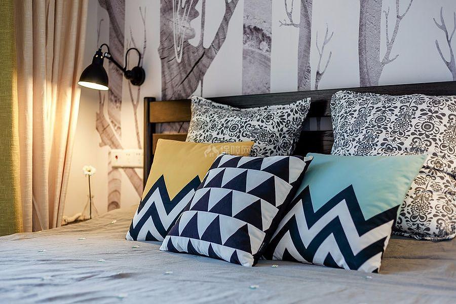 126㎡北欧风三居之主卧床头背景墙装饰效果图