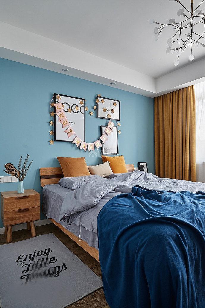 106㎡北欧两居之卧室装修布置效果图