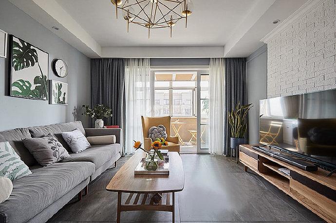 106㎡北欧两居之客厅装修设计效果图