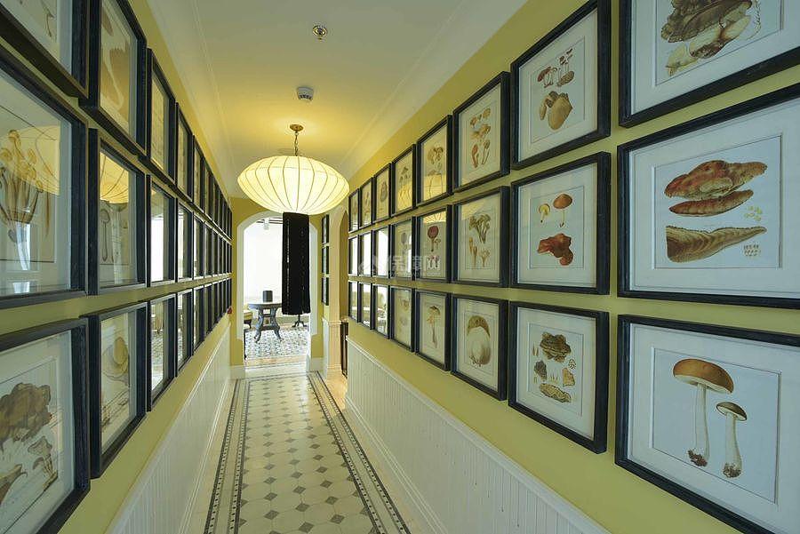 JW万豪酒店之走廊照片墙装饰效果图