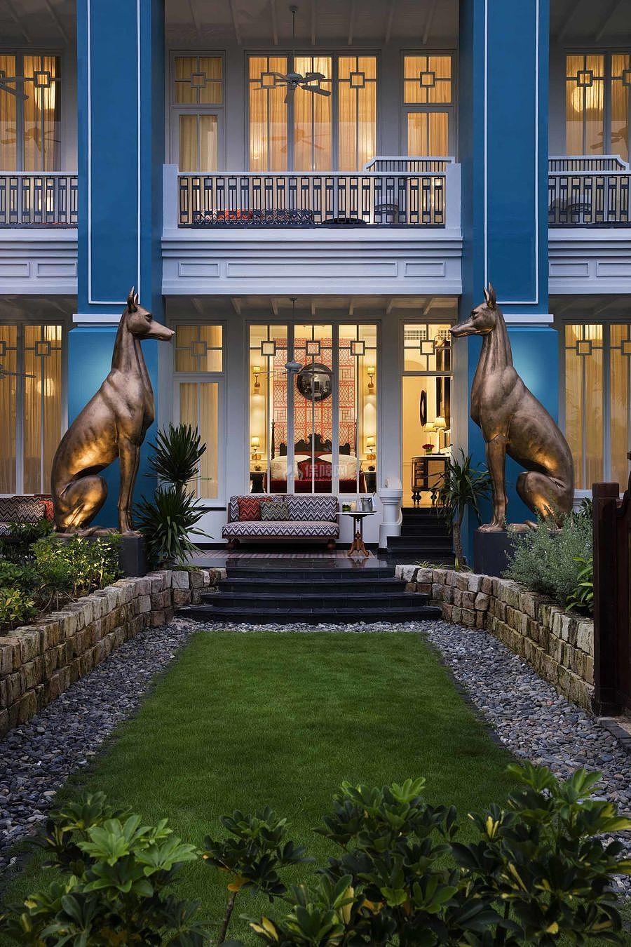 JW万豪酒店之庭院装修布置效果图