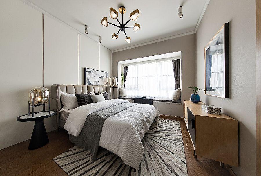 147㎡优雅简约三居之卧室整体装潢设计效果图