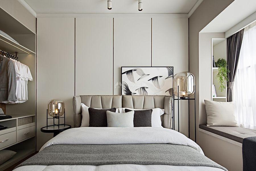 147㎡优雅简约三居之卧室床布置效果图