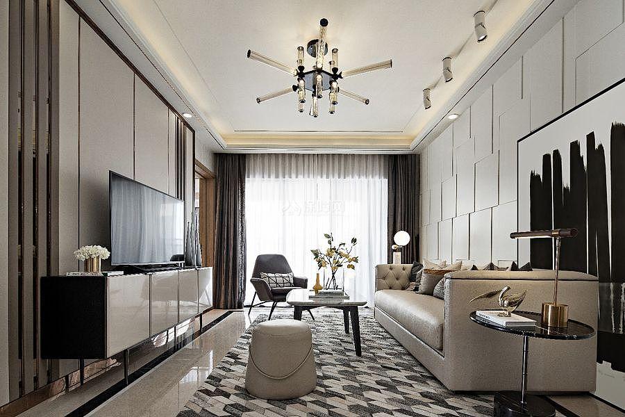 147㎡优雅简约三居之客厅整体装潢设计效果图