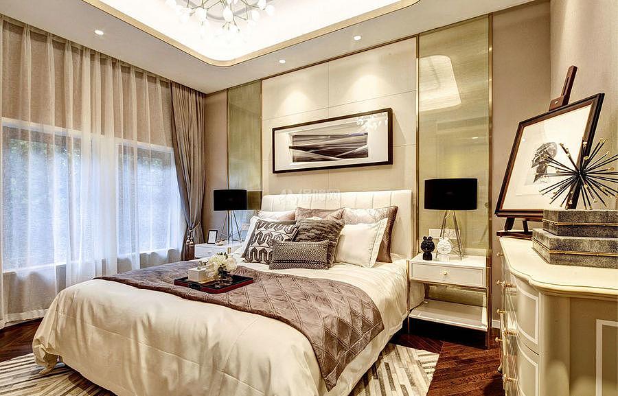 276㎡现代美式别墅之客卧装修布置效果图