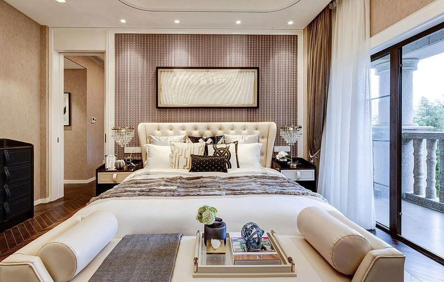 276㎡现代美式别墅之主卧床头布置效果图