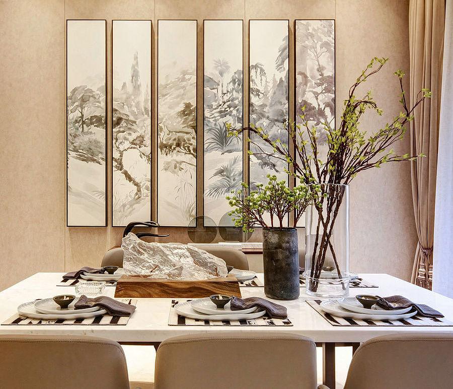 276㎡现代美式别墅之餐厅墙面装饰画效果图
