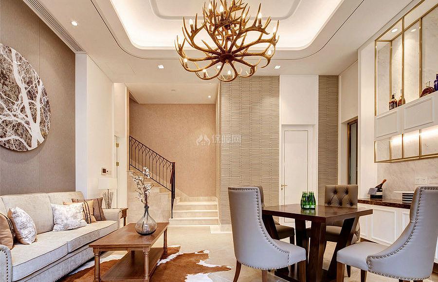 276㎡现代美式别墅之一楼休闲区布置效果图