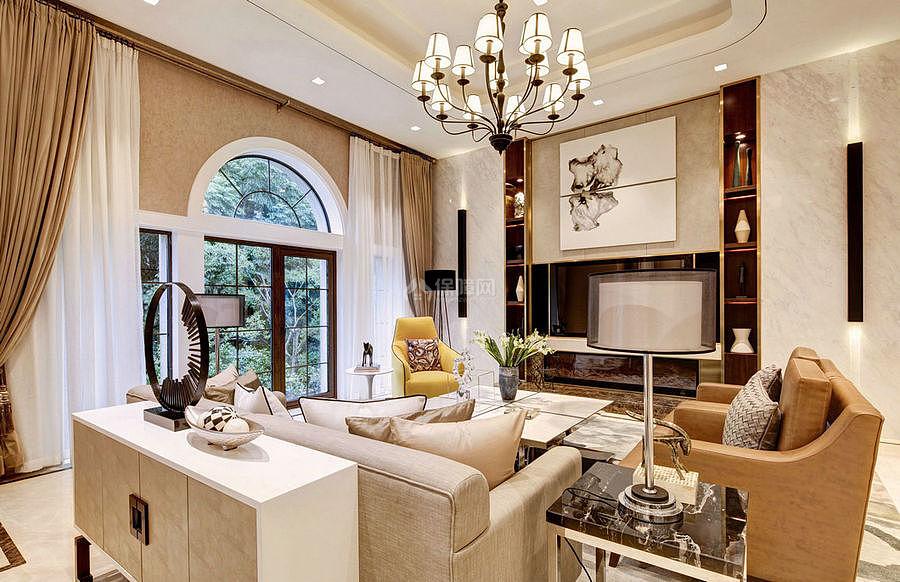 276㎡现代美式别墅之客厅装修设计效果图
