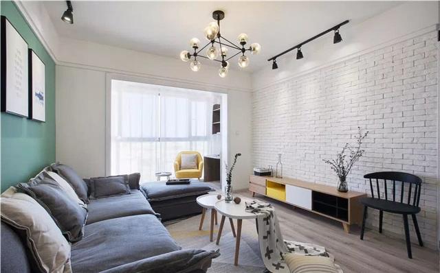 110平米北欧三居室设计 墨绿色背景墙清新典雅