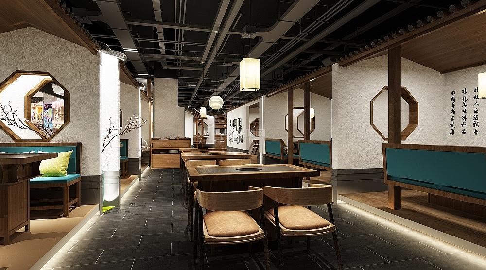 亿鼎烩火锅店之用餐大厅布置效果图