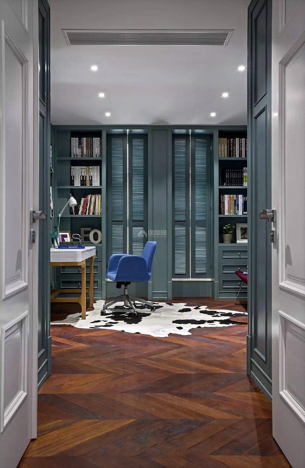 130平年轻的混搭风三居书房地板装饰效果图