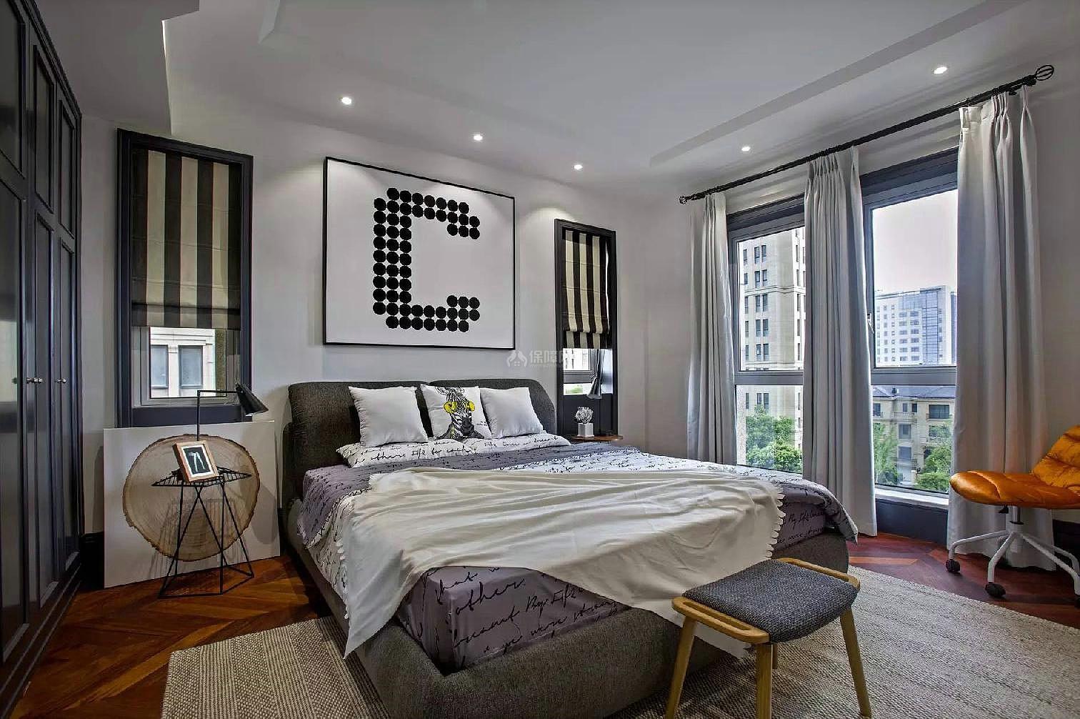 130平年轻的混搭风三居卧室整体构造效果图