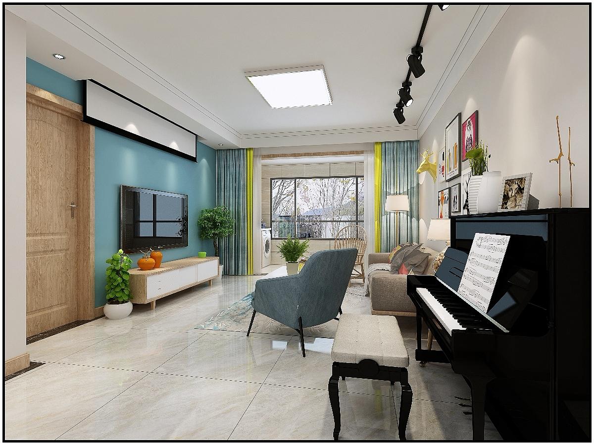 6万装修类型:家装 156平时尚北欧风三居之客厅整体效果图 免费设计与图片