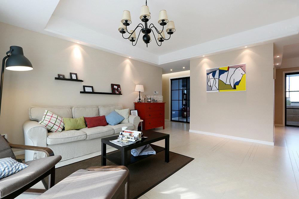 130平现代简约三室之沙发茶几摆放效果图