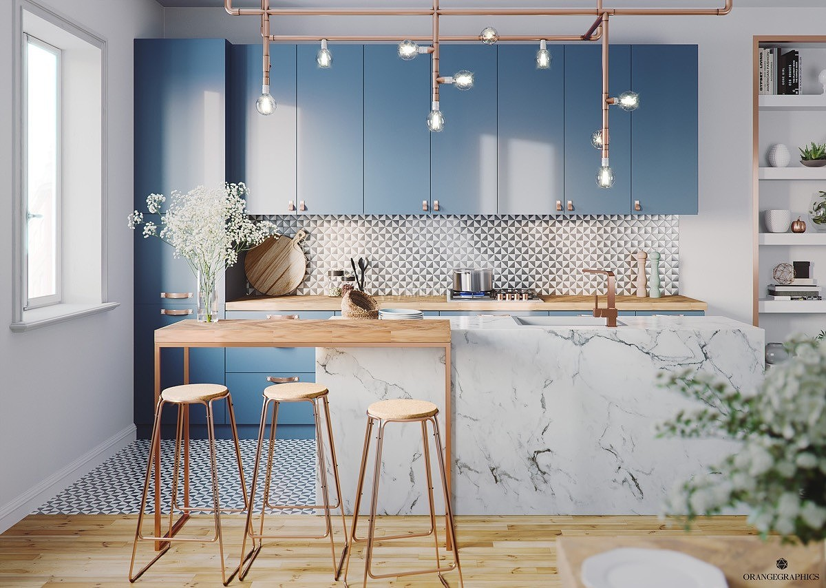 蓝色系厨房v蓝色玩转家居色彩搭配自动标注设计图图片