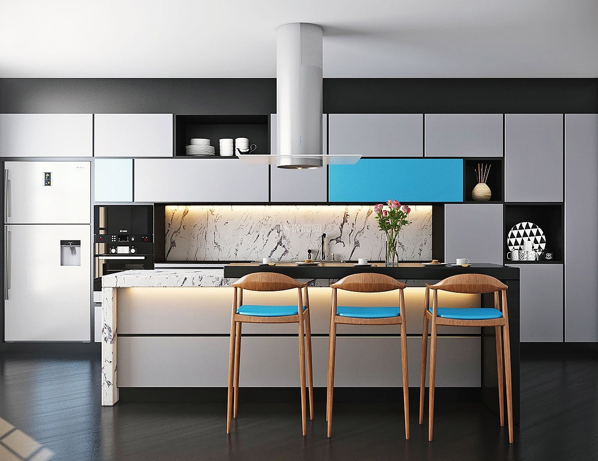 色彩系厨房设计玩转家居蓝色搭配建筑设计书关于绘图图片