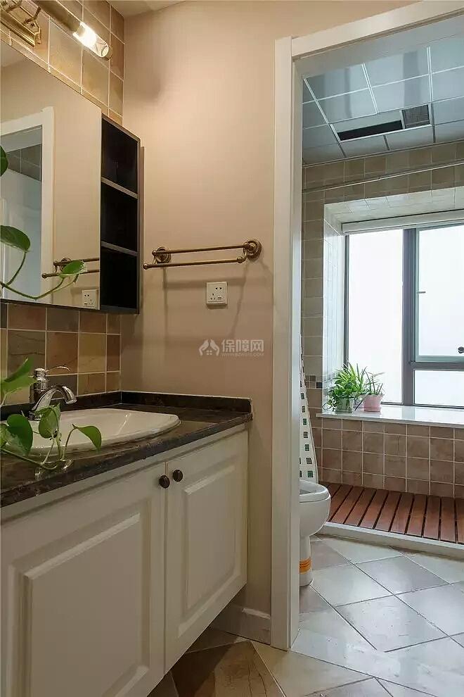 140㎡美式田园三居之卫生间洗手台设计效果图