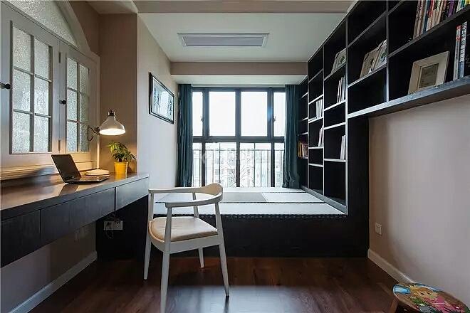 140㎡美式田园三居之书房连体柜设计效果图