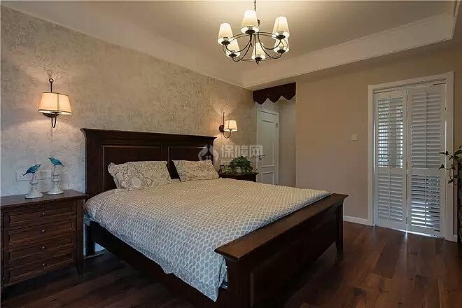 140㎡美式田园三居之卧室布置效果图
