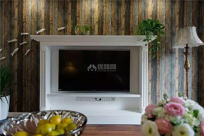 140㎡美式田园三居之电视墙造型设计效果图