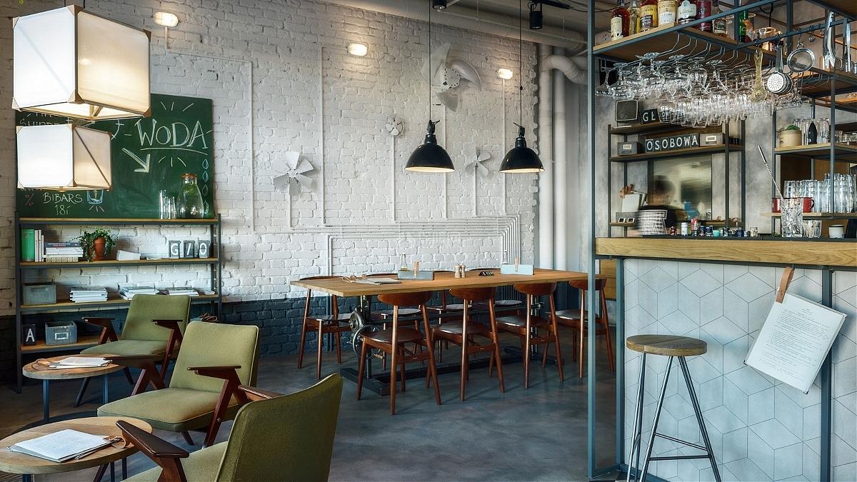 小憩站咖啡厅之墙面装饰效果图