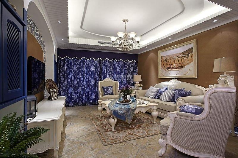 125㎡地中海风格三居之客厅整体效果图
