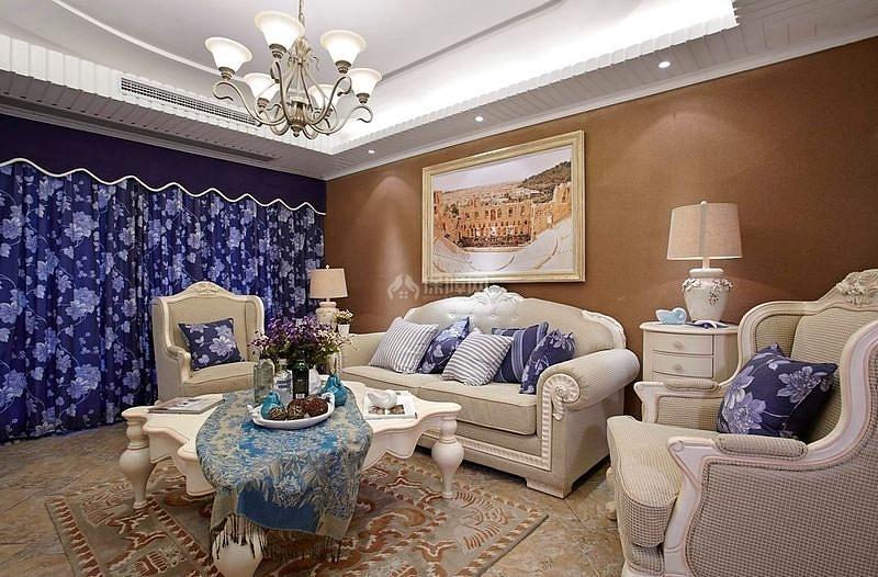125㎡地中海风格三居之沙发背景墙设计效果图