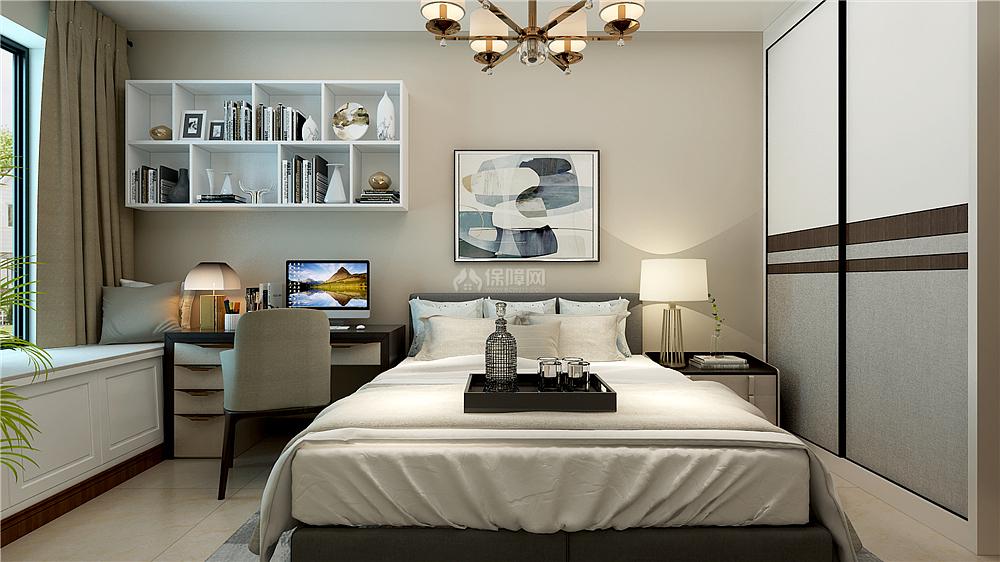 135㎡新中式三居之客卧收纳柜设计效果图