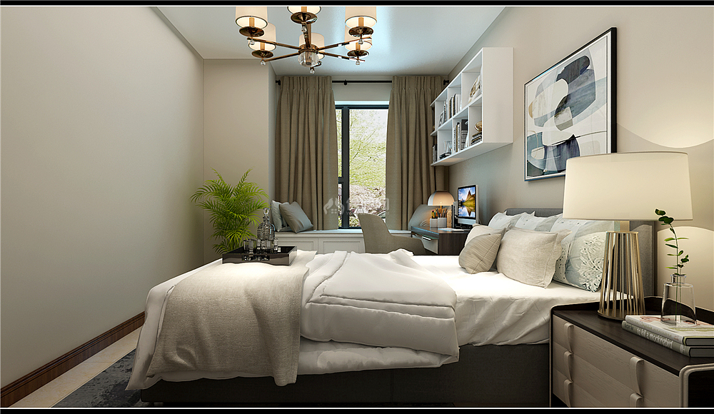 135㎡新中式三居之客卧另一角度效果图