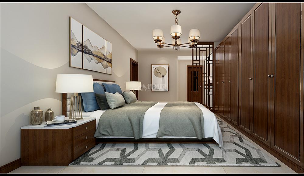 135㎡新中式三居之主卧衣柜设计效果图