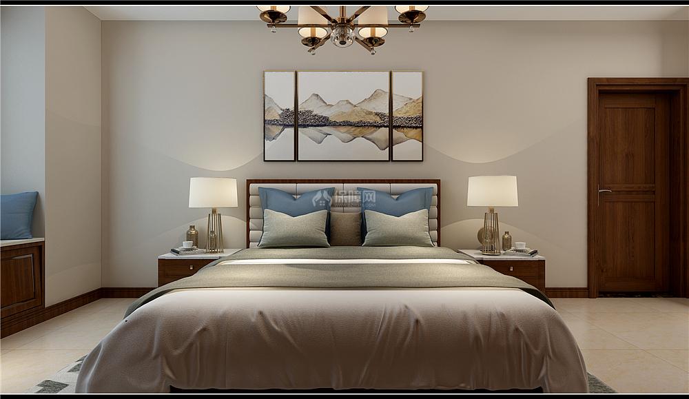 135㎡新中式三居之主卧床头装饰画效果图
