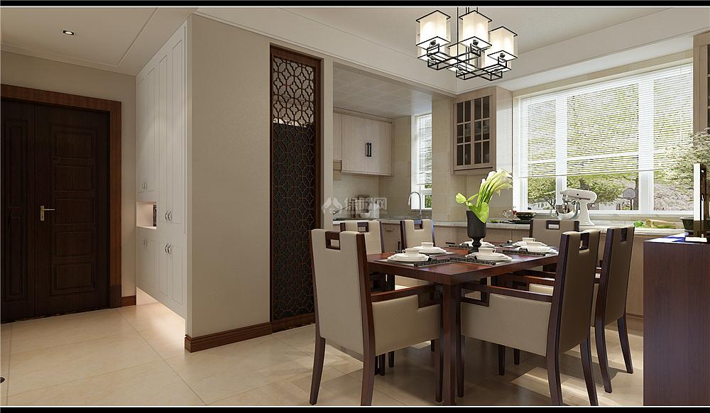 135㎡新中式三居之餐厨一体设计效果图