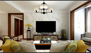135㎡新中式三居之客廳電視墻設計效果圖