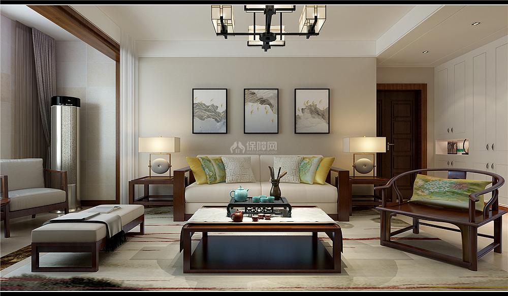 135㎡新中式三居之沙发茶几摆放效果图