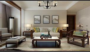 135㎡新中式三居之沙發茶幾擺放效果圖