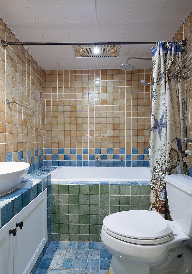 134㎡唯美美式风复式之一楼卫浴设计效果图