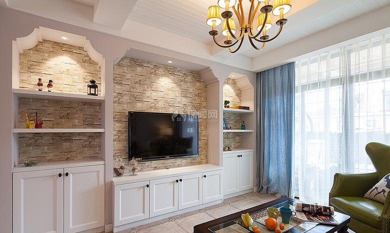 134㎡唯美美式风复式之一楼客厅电视墙装修效果图