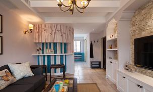134㎡唯美美式風復式之一樓沙發擺放效果圖