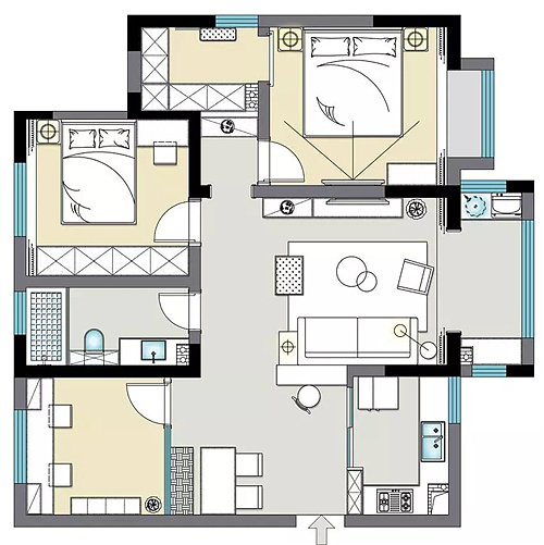 二手房巧妙改造98㎡北欧三居室