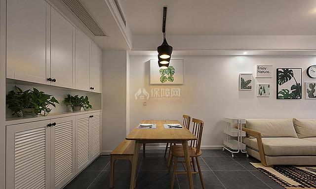 89㎡混搭风三居之餐厅边柜设计效果图