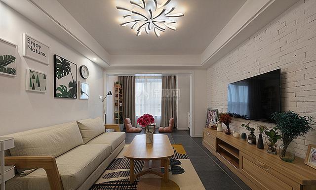 89㎡混搭风三居之客厅整体装修效果图