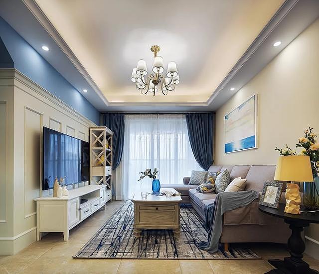 89㎡现代美式两居之客厅整体效果图