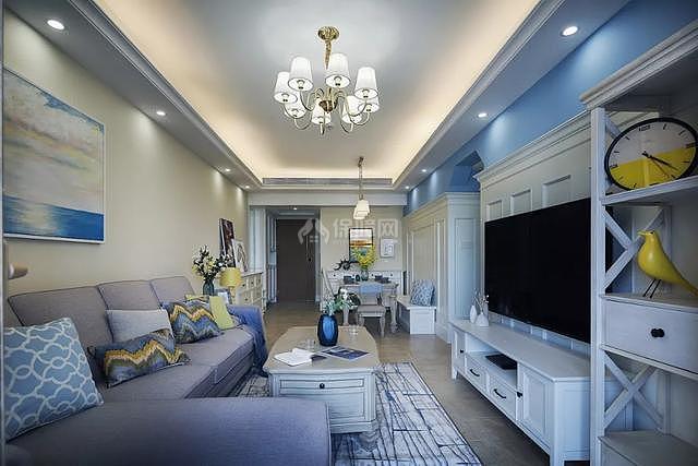 89㎡现代美式两居之电视墙柜设计效果图